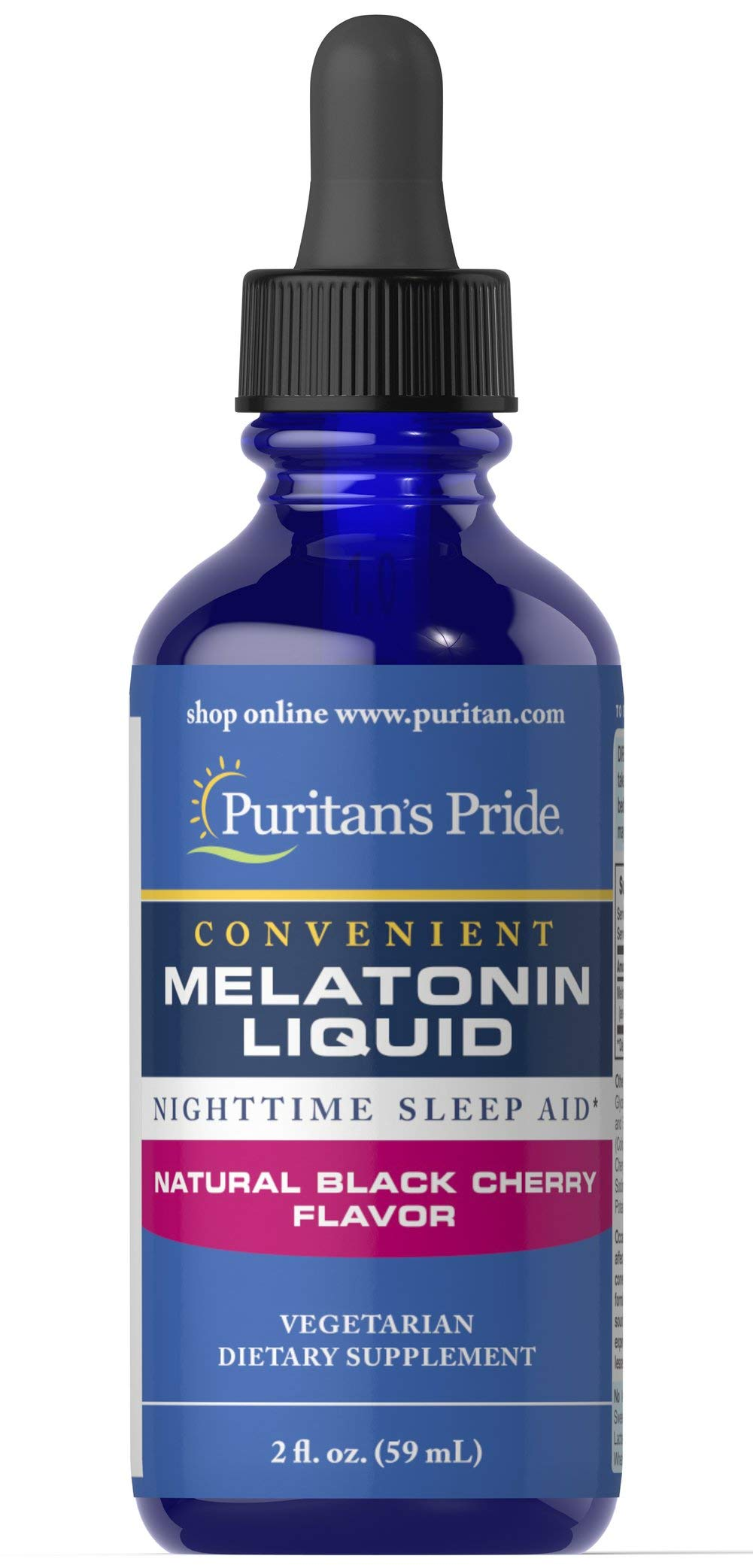 Puritans Pride Sublingual Melatonin Natural Black Cherry Flavor 1 mg-2 oz Liquid