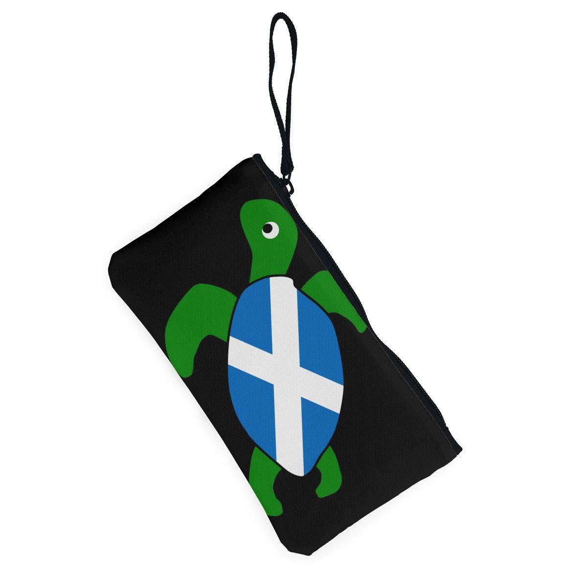 Sea Turtle Scotland Flag Canvas Coin Purse Cute Change Pouch Money Cash Bag Multifunctional Cellphone Bag with Handle