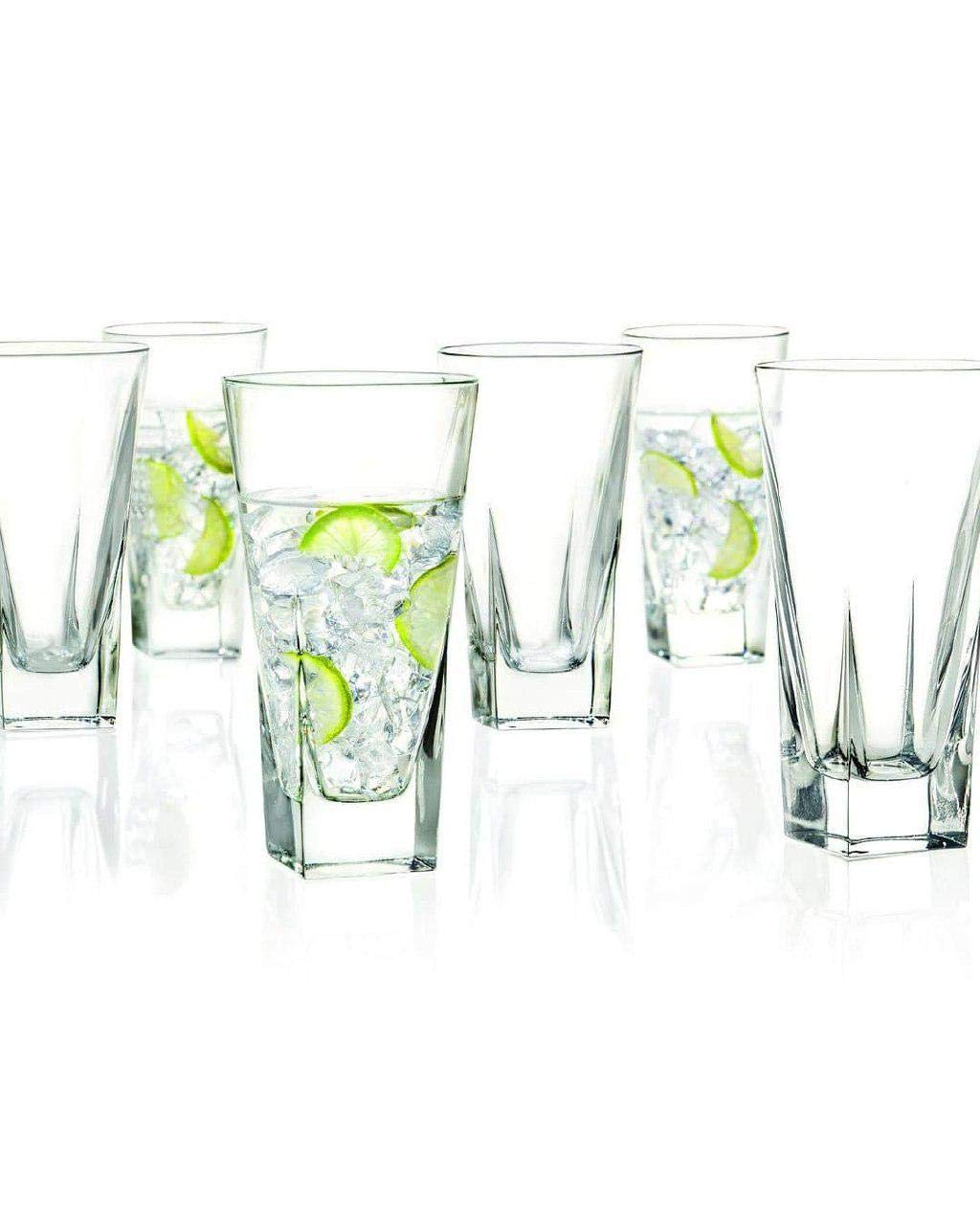 Le'raze Highball Glasses [Set of 6] Elegant Drinking Cups for Water, Wine, Beer, Cocktails and Mixed Drinks | Round Top, Square Bottom Glassware Set