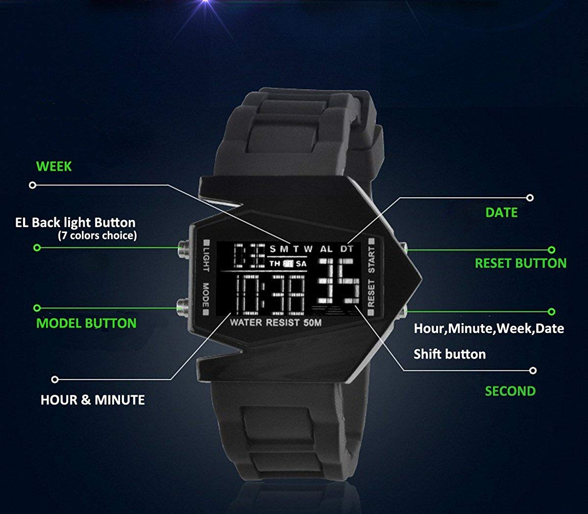 Amazon.com: Auspicious beginning® LED Personalized creative waterproof noctilucent airplane black digital watch Size S: Toys & Games