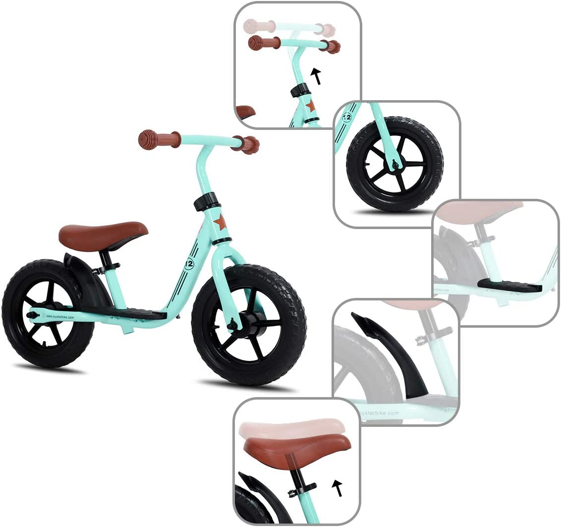 JOYSTAR 10//12 Kids Balance Bike with Footrest for Girls /& Boys Black Blue Green Pink Ages 18 Months to 5 Years Toddler Push Bike with Airless Tire and Adjustable Seat Height