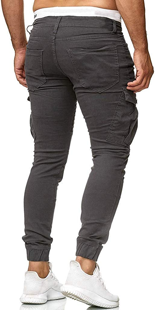 Hmlai Clearance Mens Casual Cargo Pants Slim Fit Hip Hop Trousers Workout Running Joggers Sweatpants with Zipper Pockets
