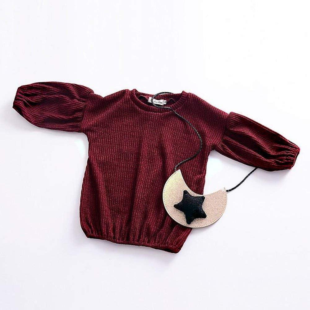 GRNSHTS Baby Girls Loose Long Lantern Sleeve Knit Sweater Wine, 4-5 Years