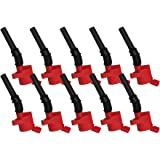 curved boot ignition coil pack of 10 compatible for ford f-150 e-250