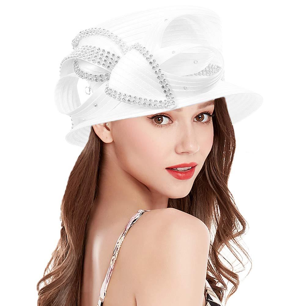 Original One Women's Kentucky Derby Tea Party Cloche Church Rhinestone Fancy Hats (White-707)