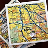 Los Angeles Road Map Coasters, Drink Coasters, Set of 4, Full Cork Bottoms
