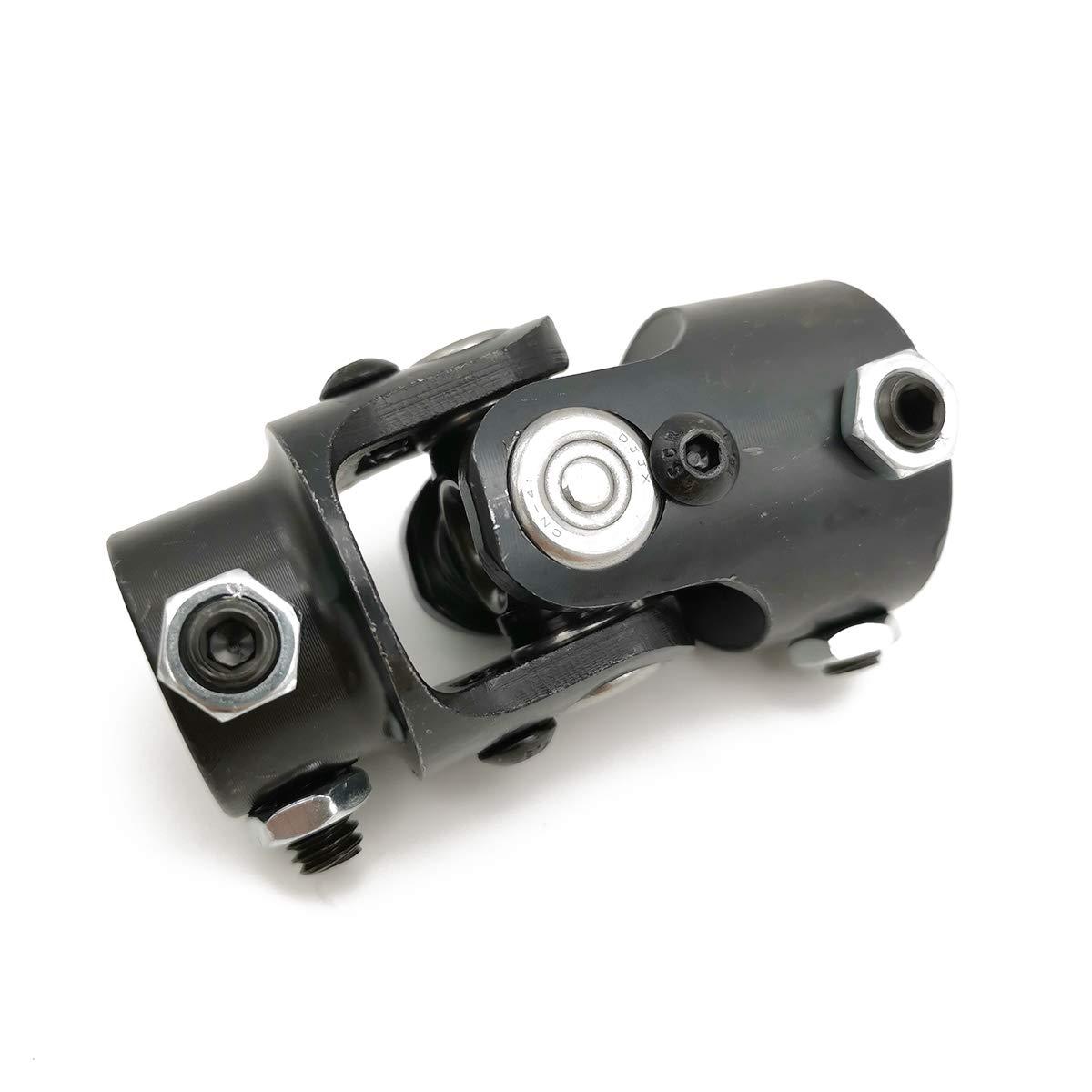 Ensun 3/4 DD x 1 DD Black Single Steering Shaft Universal U Joint, Maximum Working Angle: 35° Degree, Total Length: 83mm (3-1/4'')