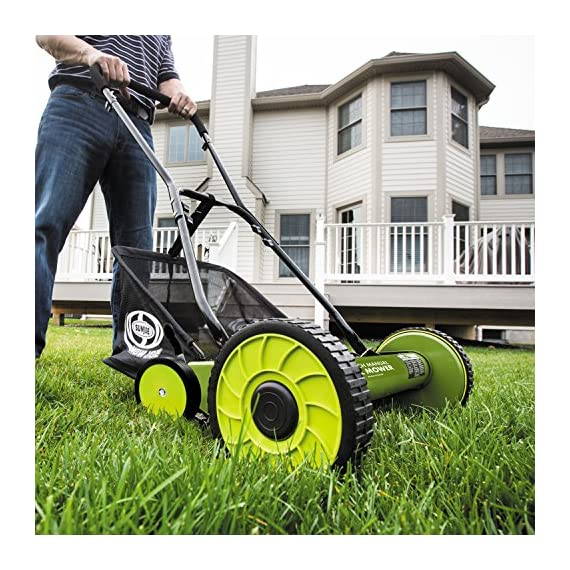 Sun Joe MJ502M Manual Reel Mower w/Grass Catcher | 20 inch 5 ✅ REEL MOWER: Powered with a push, this manual mower's 5 sharpened steel blades cut a crisp 20-inch path in a single pass - no gas, oil or electricity required ✅ ADJUSTABLE: 9 position manual height adjustment for cutting heights up to 2.44 in. deep ✅ RAZOREEL: 5 durable steel blades swiftly slice through grass for precise cutting