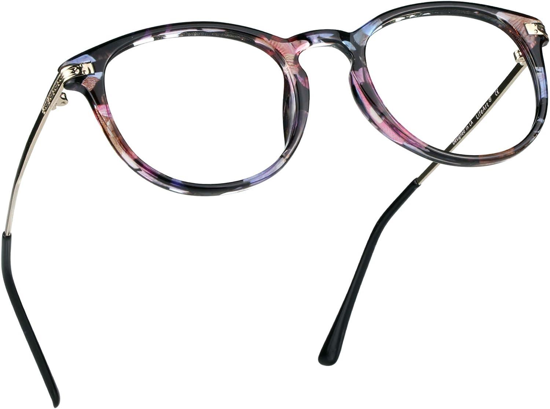 LifeArt Blue Light Blocking Glasses, Anti Eyestrain, Computer Reading Glasses, Gaming Glasses, TV Glasses for Women Men, Anti UV, Anti Glare (Floral, 0.25 Magnification)