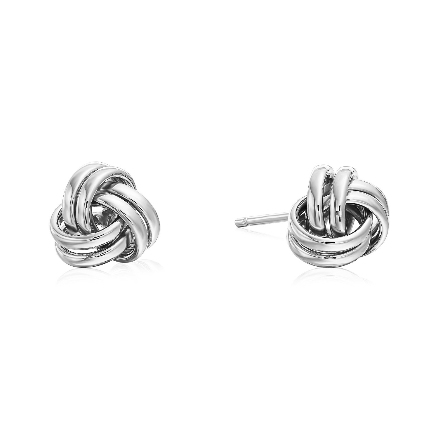 14k White Gold Polished Love Knot Stud Earrings - 7mm