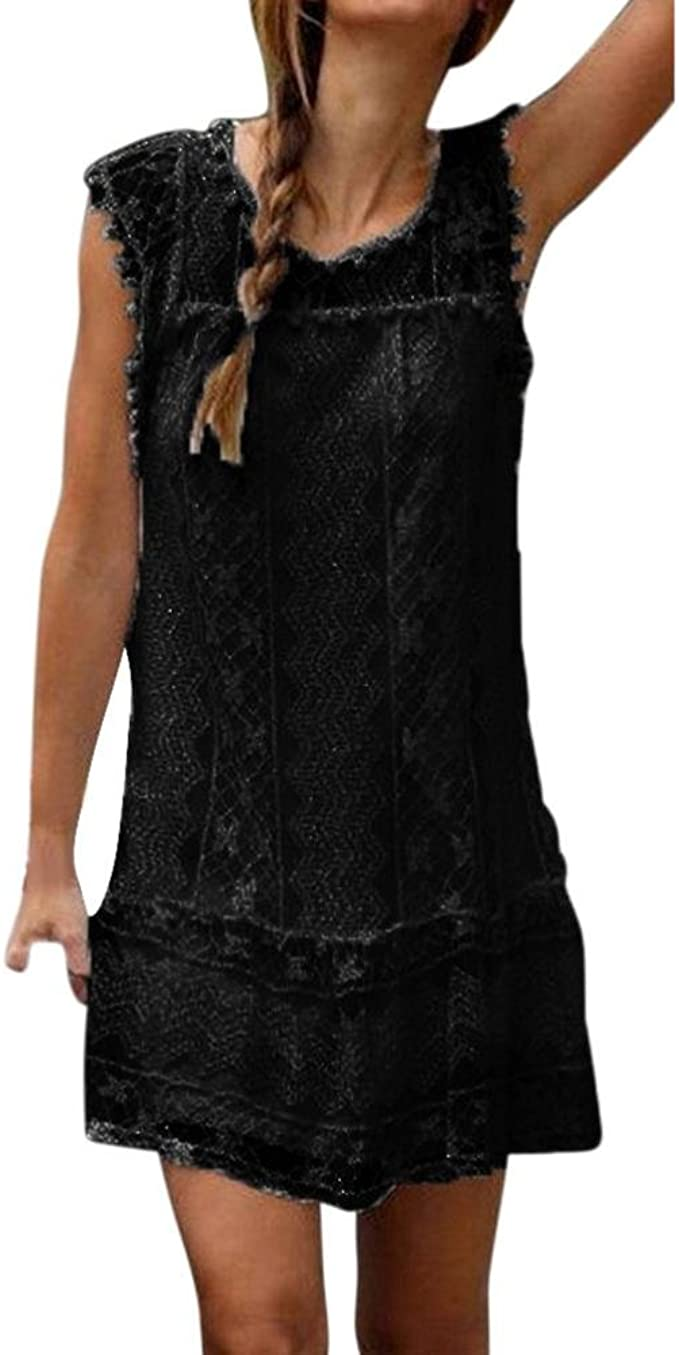 Elecenty Damen Knielang Kleider Sommerkleid Spitzekleid Strandkleid  Minikleid Frauen Kurzarm Mode Kleid Kleidung Rundhals Solide Partykleid  Rundhals