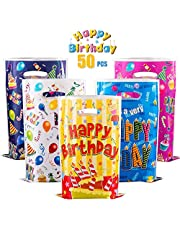 GWHOLE 50 Pack Birthday Goody Bags, Christmas Party Candy Bags Cookie Biscuit Bags Tote Gift Bags for Christmas, Party, Birthday, Wedding, 5 Styles