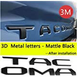 Auto safety for Toyota Tacoma 2016 2017 2018 2019 Tailgate 3D Metal Letters Insert with 3M Adhesive (Matte Black) (Not Decal