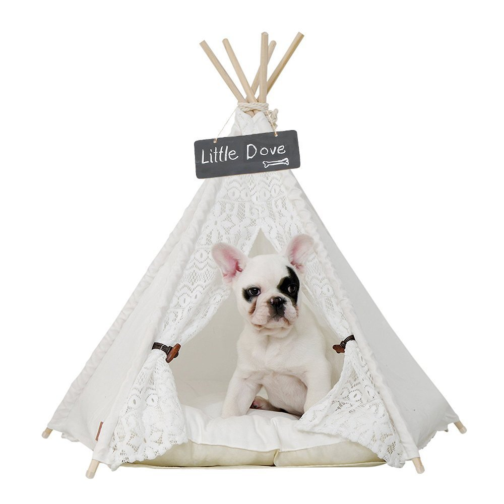 24 Inch with Cushion little dove Pet Teepee Dog(Puppy) & Cat Bed Portable Pet Tents & Houses for Dog(Puppy) & Cat Lace Style 24 Inch with Thick Cushion