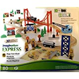 Imaginarium Express - Mega Train World - Train Set ( 80+ Pieces ) With 30 Track Pieces, 3 Trains & 48 Play Pieces. Working Crane & Cargo - Compatible With Competitor Wooden Train Sets
