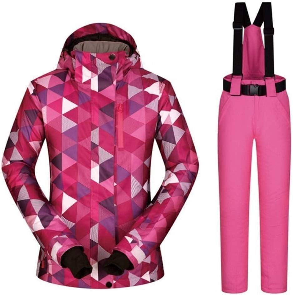 Sceliny スキースーツの女性のセットの防風防水暖か服ジャケットスキーパンツ雪の服冬のスキーやスノーボードのスーツ (色 : HSJ And ピンク, サイズ : XL) HSJ And ピンク X-Large