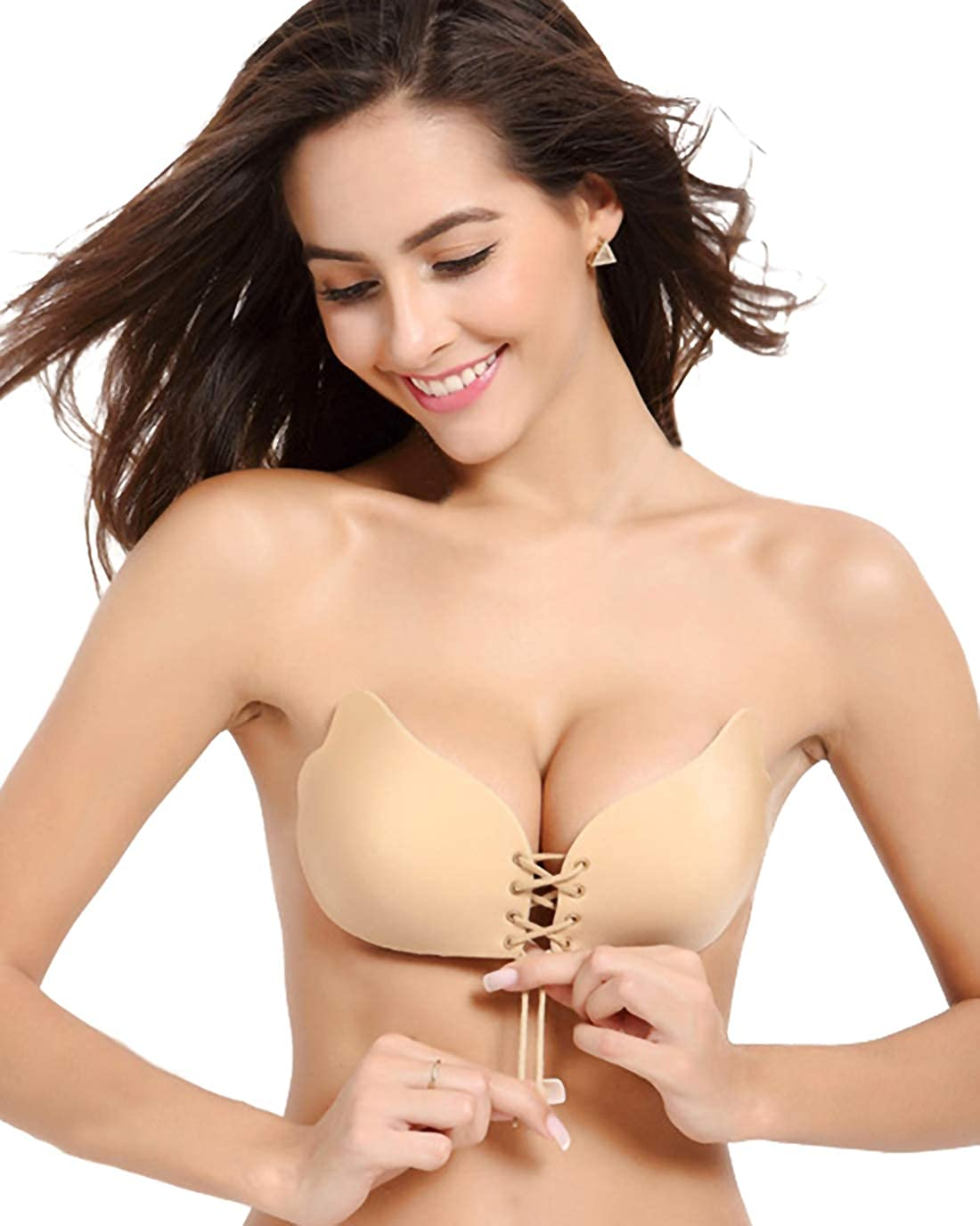 Beige Muryobao Strapless Self Adhesive Backless Bras Silicone Push up Bra for Women (2 Pack FBA)