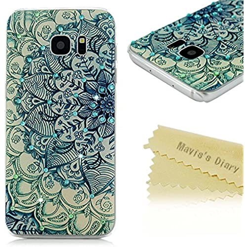 S7 Edge Case,Galaxy S7 Edge Case - Mavis's Diary 3D Handmade Bling Crystal Shiny Diamonds Rhinestone with Green Totem Flower Pattern Clear Hard PC Sales