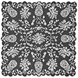 Heritage Lace Sugar Skulls Table Topper, 58-Inch by 58-Inch, Pewter