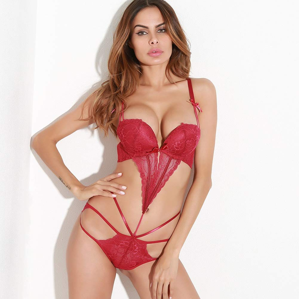 SASA Babydoll Lencería Sexy para Mujeres Lencería de Encaje Encaje de Transparente para Mujeres Ropa Interior de corsé para Mujeres Pijamas Atractivas, Red 0514de