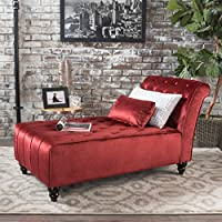 Rafaela Tufted New Velvet Chaise Lounge (Garnet)