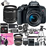 Canon EOS Rebel T7i DSLR Camera Deluxe Video Creator Kit with Canon EF-S 18-55mm f/3.5-5.6 IS STM Lens + 32GB SD Memory Card + Camera Works PRO Accessory Bundle