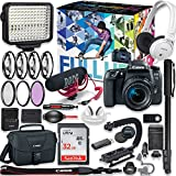 Canon EOS 77D DSLR Camera Premium Video Creator Kit with Canon 18-55mm Lens + Sony Monitor Series Headphones + Video LED Light + 32gb Memory + Monopod + High End Accessory Bundle