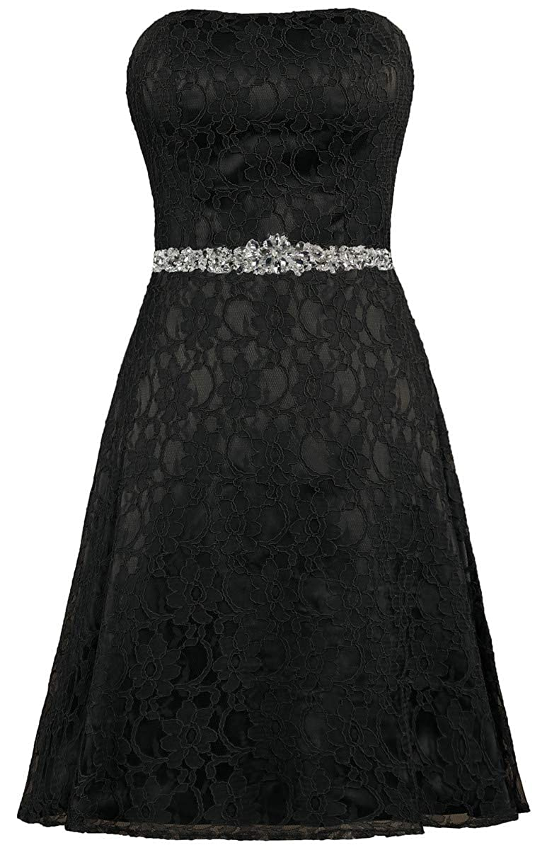 Black ZAXANTS Women's Strapless Lace Cocktail Dresses Short Party Dress