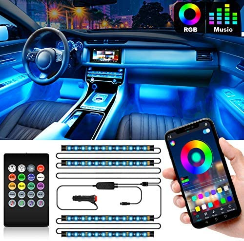 Shynerk Interior Car Lights, Car LED Strip Lights 2-in-1 Design 4pcs 48 LED Remote and APP Controller Lighting Kits, Waterproof Multi DIY Color Music Car Lighting with Car Charger and DC 12V