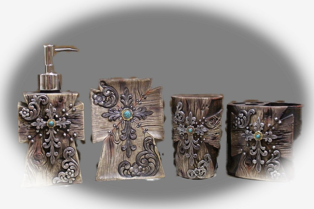 Western Rustic Wood Look Turquoise Stone Four Piece Bath Set