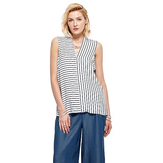 6f195d6eb Halo Womens Fashion V Neck Striped Loose Basic T Shirt Tops Sleeveless  Blouse, White,