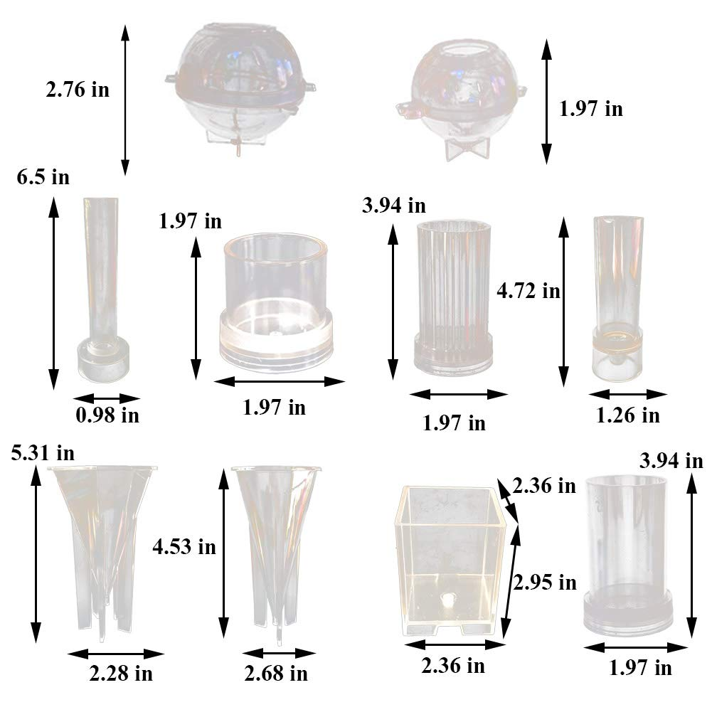 Lzttyee 10Pcs Clear Acrylic Candle Molds Set DIY Candle Making Supplies Casting Molds Kit for Birthday/Christmas/Valentine's Day by Lzttyee (Image #2)
