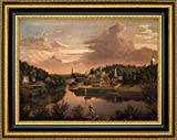 "View of Norwich Harbor in 1849 by John Denison Crocker - 12"" x 15"" Framed Giclee Canvas Art Print - Ready to Hang"