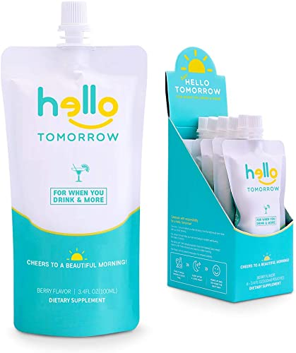 Hello Tomorrow Hangover Prevention Drink – Pure Hydrogen Supports and Recovery Drink with DHM, Milk Thistle, Vitamins, Collagen for Protects Liver and Skin Detox Supplement Beverage 12Pack