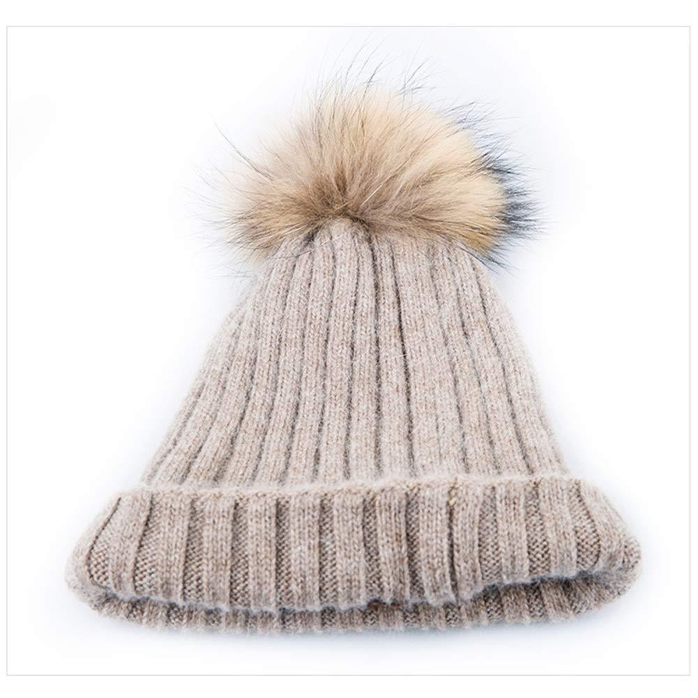 Shuo lan Weiblicher Herbst-und Winterwolle-Strickmütze halten Sich warm mit niedlichen Haarbällen