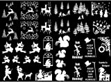 """Christmas Reindeer Trees Snow 1/2"""" to 1-1/4"""" White 17CC782 Fused Glass Decals (must be kiln fired)"""