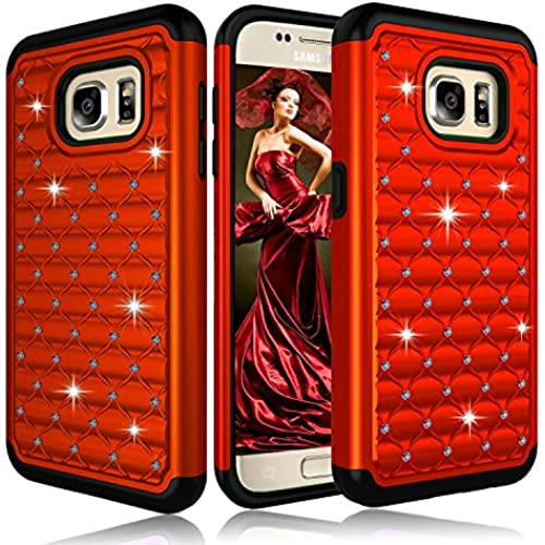 Galaxy S7 Case, ZENIC(TM) Hybrid Armor Dual Layer Studded Diamond Bling Protective Case Cover for Galaxy S7 All Carriers (Red) Sales