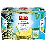 Dole 100% Pineapple Juice, 6 Ounce Can (Pack of 6), Pineapple Juice in Individual-Serving Cans, Great for Smoothies Drinks Marinades Desserts and More For Sale