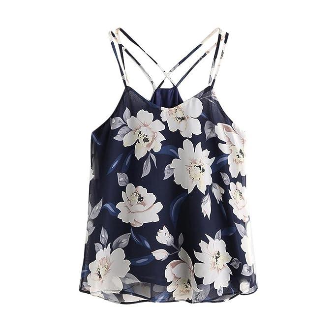 Switchali Blusas para Mujer Mujer Verano Floral Corto Chaleco de Honda Moda Gasa Camisa Dama Linda