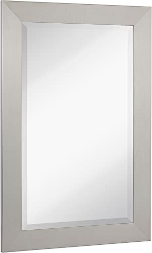 Hamilton Hills New Pewter Modern Metallic Look Rectangle Wall Mirror