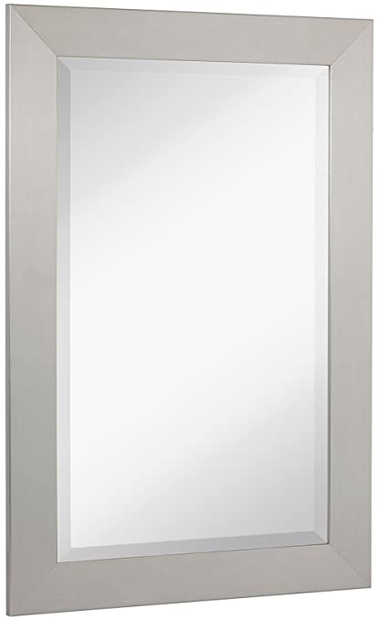 Superbe NEW Pewter Modern Metallic Look Rectangle Wall Mirror | Brushed Metal  Appearance | Contemporary Simple Design