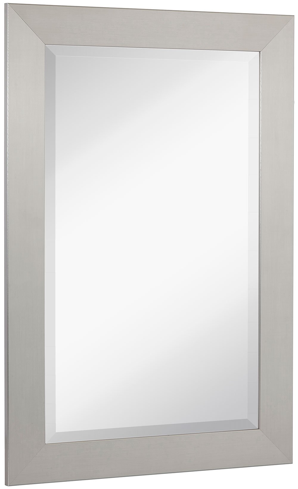 NEW Pewter Modern Metallic Look Rectangle Wall Mirror | Brushed Metal Appearance | Contemporary Simple Design Beveled Glass Vanity, Bedroom, or Bathroom | Hanging Horizontal or Vertical | Made in USA