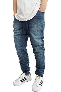 2b924c0c982 Victorious Men's DK Indigo Drop Crotch Denim Jogger Pants - URBANJ