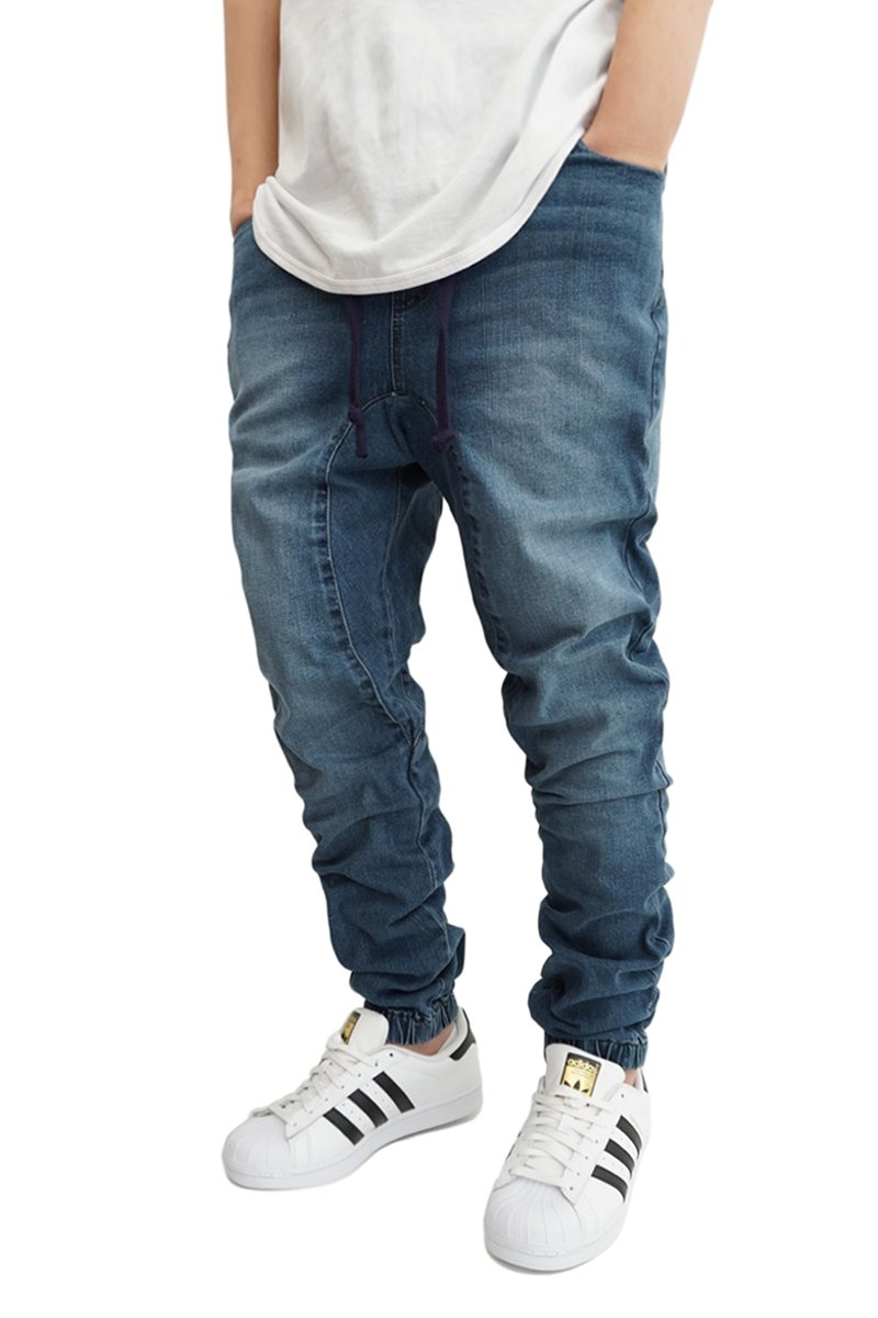 437a1829d87b0e Victorious Men's DK Indigo Drop Crotch Denim Jogger Pants - URBANJ ...