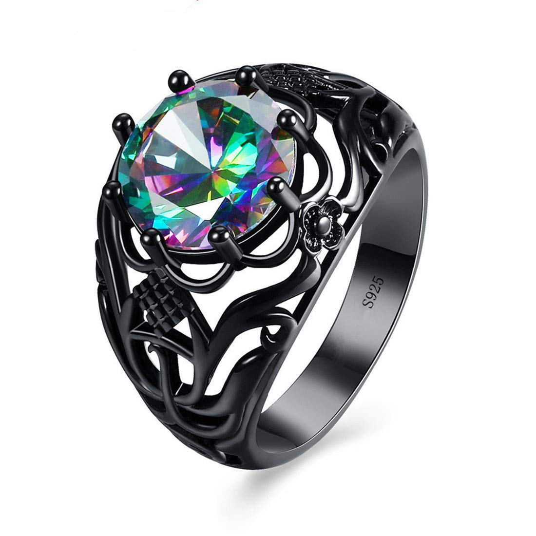 UINKE Exquisite Black Plated Carving Hollow Cubic Zirconia Rings Punk Style Jewelry for Women Men,8#