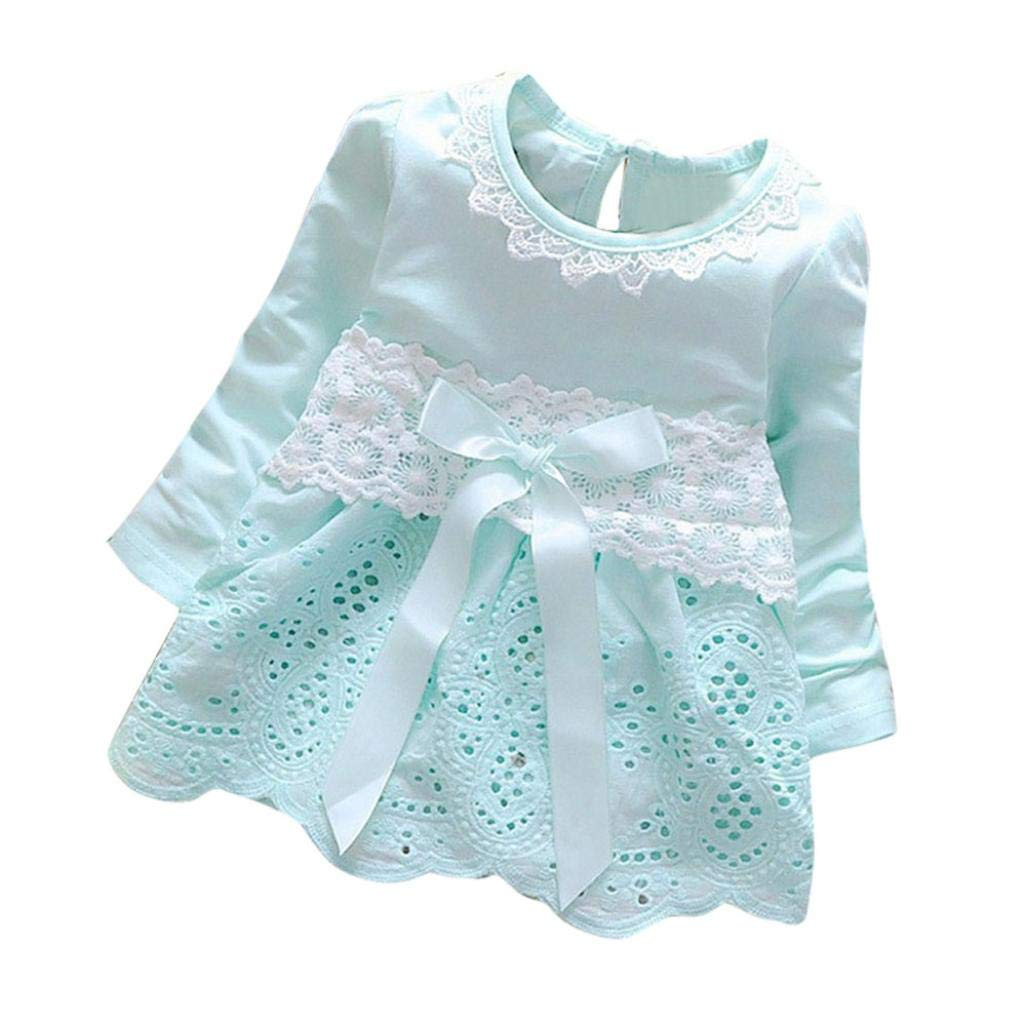 0-24 Months Lace Dress New Baby Girls Long Sleeve Party Lace Flower Bow Princess Dress Kids Clothes