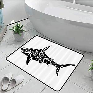 Floor Decoration Living Room Carpet Bathroom Anti-Slip Rug Tribal,Shark Tattoo Design in Black and White Under The Sea Wildlife Theme Fish Artwork,Black White 24x36 Inch