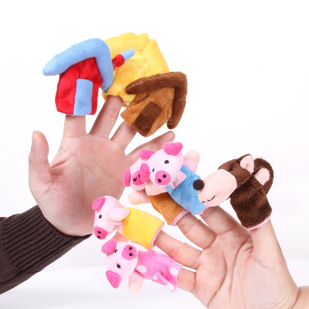 Foto4easy The Three Little Pigs Animal Finger Puppet Toy Educational Toys Storytelling Doll ( 8pcs/set)