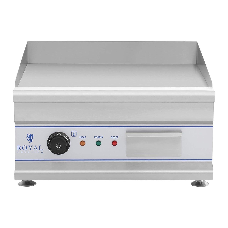 50 cm, Plancha Lisa, 3.200 Watt, Protecci/ón Contra Salpicaduras, Sistema Recoge Grasas Royal Catering Fry Top El/éctrico RCG 50