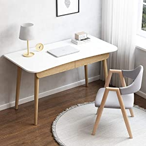 TOPYL Simple Computer Desk with Drawers for Small Spaces,Modern Sturdy Office Desk,Multipurpose Wooden Workstation Writing Desk for Bedroom